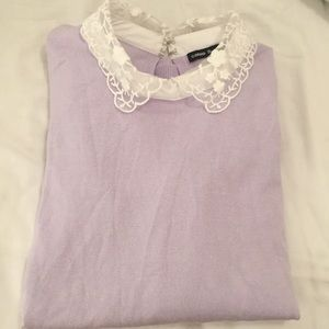 Adorable Lavender Sweater with Lace Collar